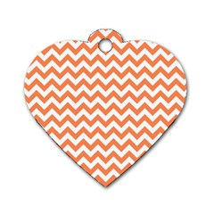 Orange And White Zigzag Dog Tag Heart (two Sided)