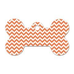 Orange And White Zigzag Dog Tag Bone (Two Sided)