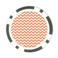 Orange And White Zigzag Poker Chip