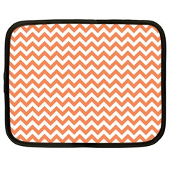 Orange And White Zigzag Netbook Sleeve (large)