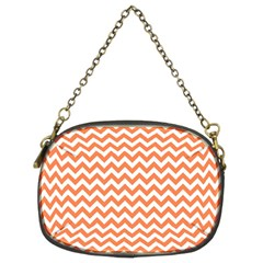 Orange And White Zigzag Chain Purse (two Sided)