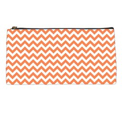 Orange And White Zigzag Pencil Case