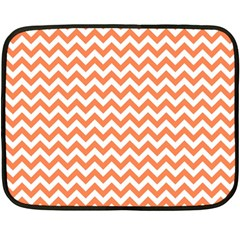 Orange And White Zigzag Mini Fleece Blanket (Two Sided)