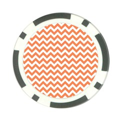 Orange And White Zigzag Poker Chip (10 Pack)