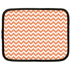Orange And White Zigzag Netbook Sleeve (xl)