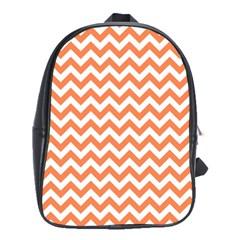 Orange And White Zigzag School Bag (large)