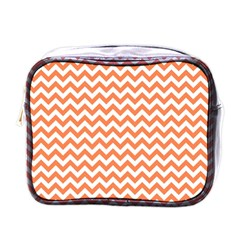 Orange And White Zigzag Mini Travel Toiletry Bag (One Side)