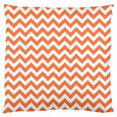 Orange And White Zigzag Large Cushion Case (two Sided)