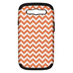 Orange And White Zigzag Samsung Galaxy S Iii Hardshell Case (pc+silicone)