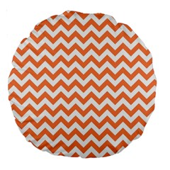 Orange And White Zigzag 18  Premium Round Cushion