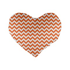 Orange And White Zigzag 16  Premium Heart Shape Cushion