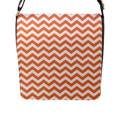 Orange And White Zigzag Flap Closure Messenger Bag (Large)