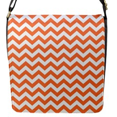 Orange And White Zigzag Flap Closure Messenger Bag (Small)