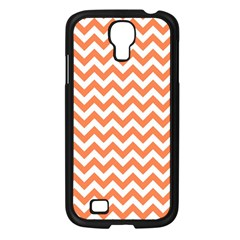 Orange And White Zigzag Samsung Galaxy S4 I9500/ I9505 Case (Black)