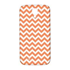 Orange And White Zigzag Samsung Galaxy S4 I9500/I9505  Hardshell Back Case
