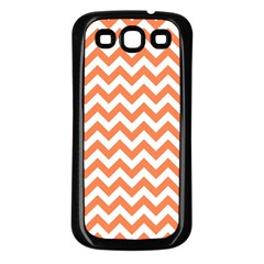 Orange And White Zigzag Samsung Galaxy S3 Back Case (Black)