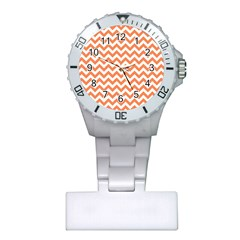 Orange And White Zigzag Nurses Watch