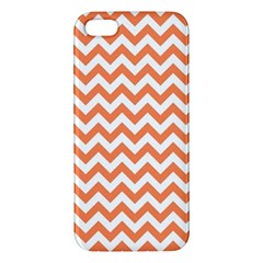 Orange And White Zigzag iPhone 5S Premium Hardshell Case