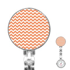 Orange And White Zigzag Stainless Steel Nurses Watch