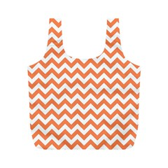 Orange And White Zigzag Reusable Bag (M)