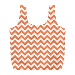 Orange And White Zigzag Reusable Bag (L)