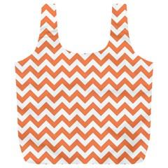 Orange And White Zigzag Reusable Bag (xl)