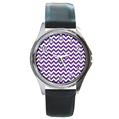 Purple And White Zigzag Pattern Round Leather Watch (Silver Rim)