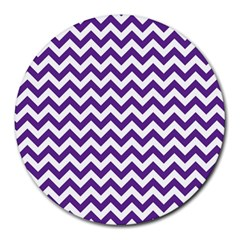 Purple And White Zigzag Pattern 8  Mouse Pad (Round)