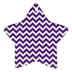 Purple And White Zigzag Pattern Star Ornament