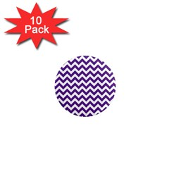 Purple And White Zigzag Pattern 1  Mini Button Magnet (10 pack)