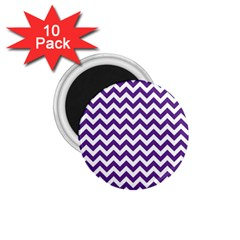 Purple And White Zigzag Pattern 1 75  Button Magnet (10 Pack)
