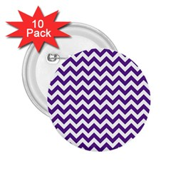 Purple And White Zigzag Pattern 2.25  Button (10 pack)