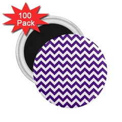 Purple And White Zigzag Pattern 2.25  Button Magnet (100 pack)