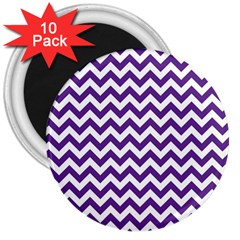 Purple And White Zigzag Pattern 3  Button Magnet (10 pack)