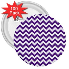 Purple And White Zigzag Pattern 3  Button (100 Pack)