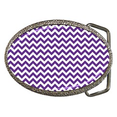 Purple And White Zigzag Pattern Belt Buckle (Oval)