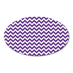 Purple And White Zigzag Pattern Magnet (Oval)