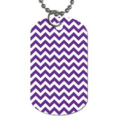 Purple And White Zigzag Pattern Dog Tag (One Sided)