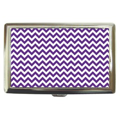 Purple And White Zigzag Pattern Cigarette Money Case