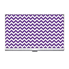 Purple And White Zigzag Pattern Business Card Holder