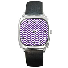 Purple And White Zigzag Pattern Square Leather Watch