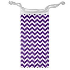 Purple And White Zigzag Pattern Jewelry Bag