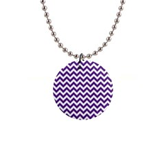 Purple And White Zigzag Pattern Button Necklace