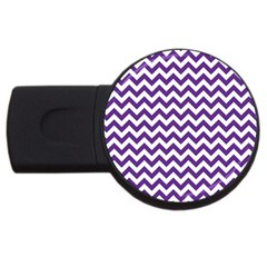 Purple And White Zigzag Pattern 4gb Usb Flash Drive (round)
