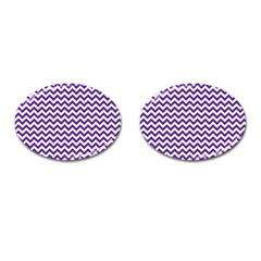 Purple And White Zigzag Pattern Cufflinks (Oval)
