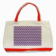 Purple And White Zigzag Pattern Classic Tote Bag (red)