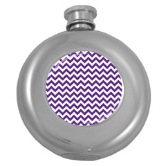 Purple And White Zigzag Pattern Hip Flask (round)