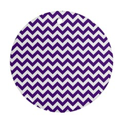 Purple And White Zigzag Pattern Round Ornament (Two Sides)