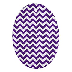 Purple And White Zigzag Pattern Oval Ornament (two Sides)