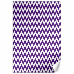 Purple And White Zigzag Pattern Canvas 24  x 36  (Unframed)
